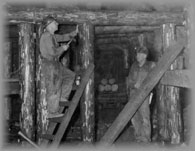 Men in an underground shaft timbering, wpH709